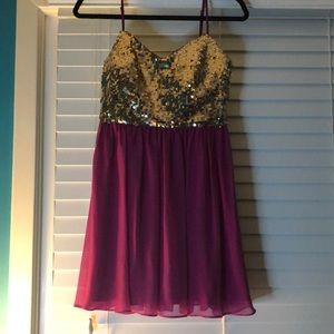 Magenta and gold sequence dress